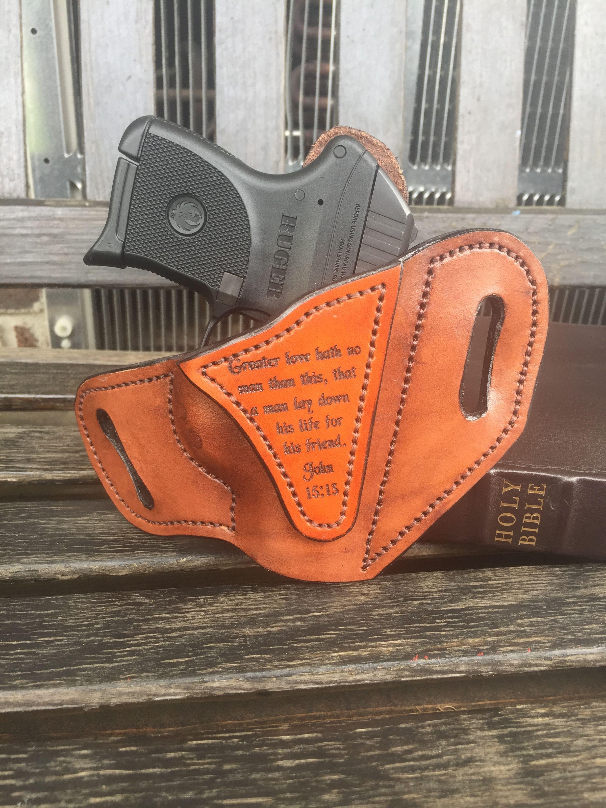 Ruger LCP OWB dark brown engraved Bible verse holster