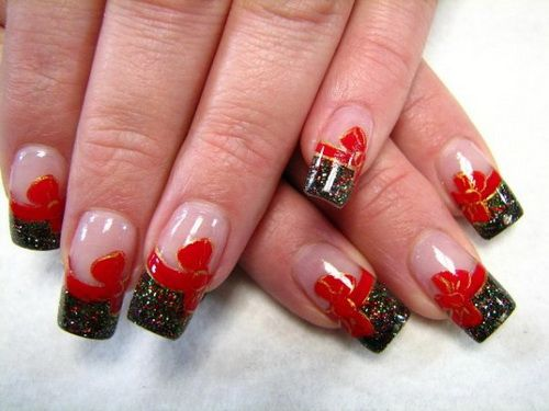 Acrylic nail designs with red bows also nails rh nz pinterest