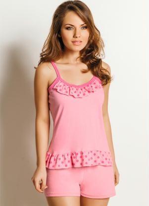 57858eb64c Pijama Feminino Rosa Estampa Poá - Posthaus Pijamas Cortos Mujer