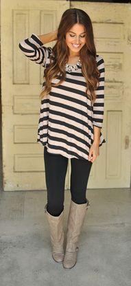 Mocha & Black Striped Tunic