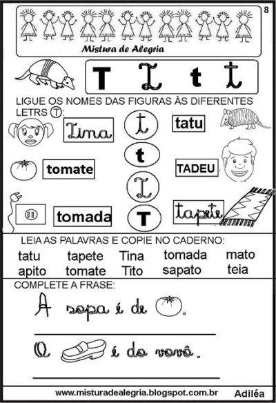 Atividades Silabicas Letra T Para Aprender Ler E Escrever Com