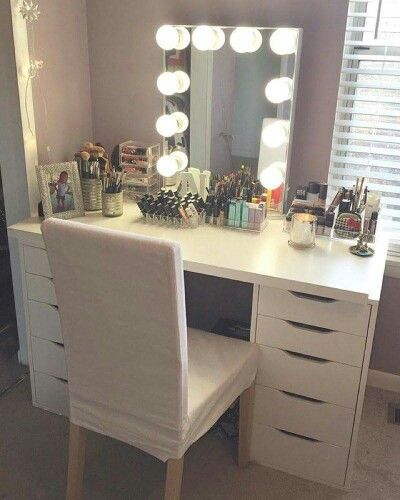 My makeup vanity mirror for Miroir hollywood ikea