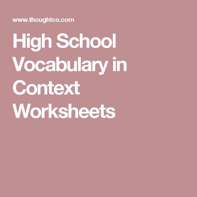 Free high school vocab in context worksheets worksheets high high school vocabulary in context worksheets ibookread Download