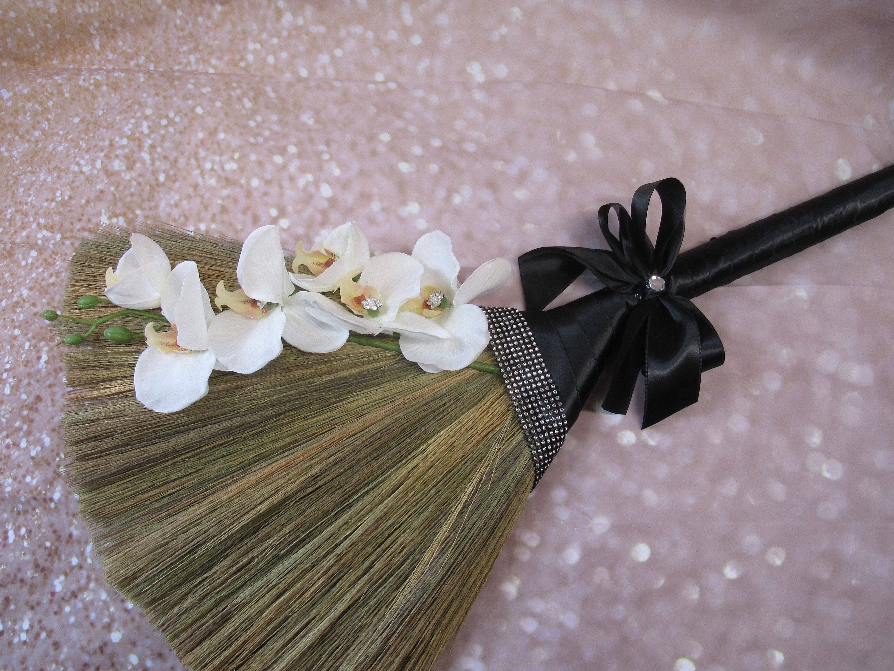 Decorated Wedding Jump Broom With Orchids With Bling For Etsy In 2020 Hand Decorated Jumping The Broom Handmade