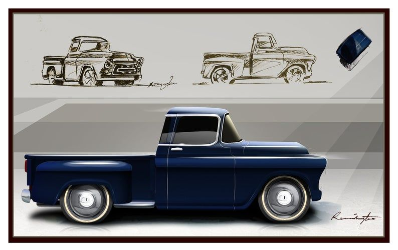 Classic Trucks/cars 57′ Chevy Chevrolet Pick-up Truck Gifts Men Mancave Art Drawing Vintage