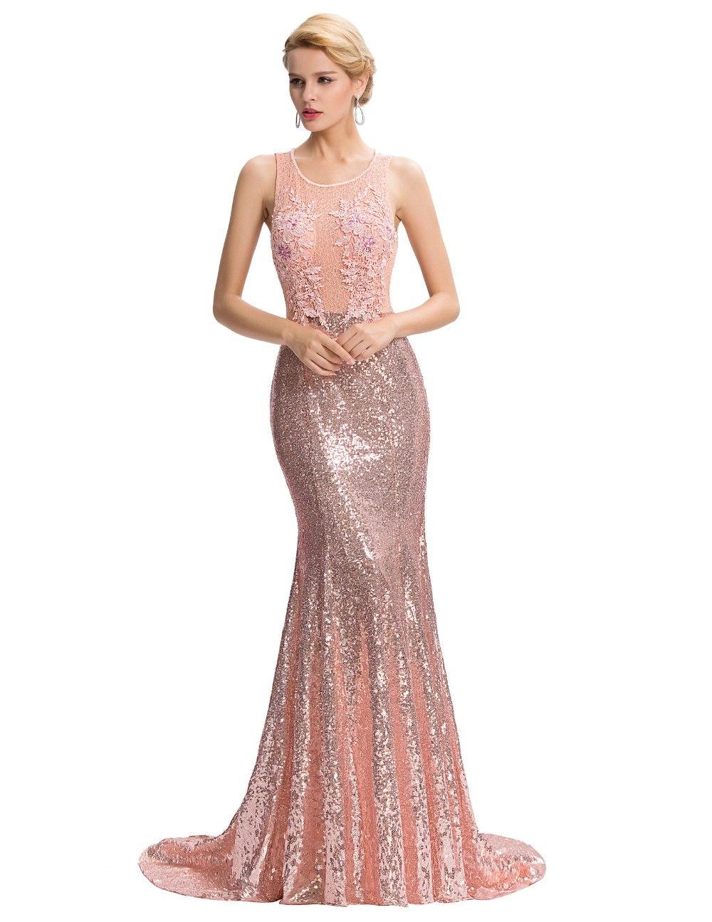 e1878a4e2a4  97.42 - Awesome Grace Karin Luxury Mermaid Evening Dress Floor Length  Backless Elegant Pink Sequined Lace Long Evening Gowns Robe De Soiree 2017  - Buy it ...