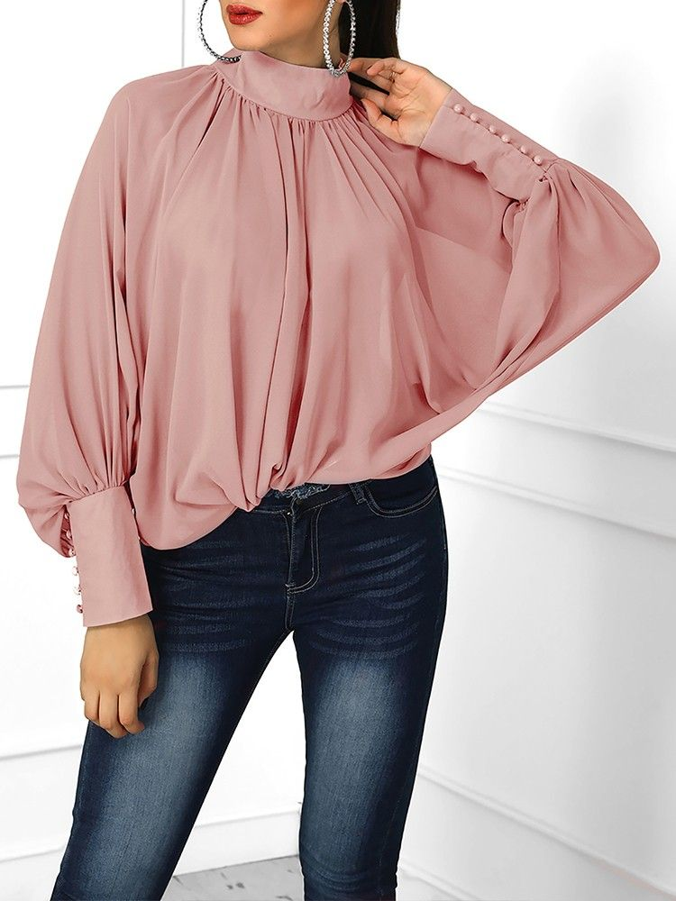 5b7a653ae2 Lantern Sleeve Wide Cuff Ruched Blouse in 2019