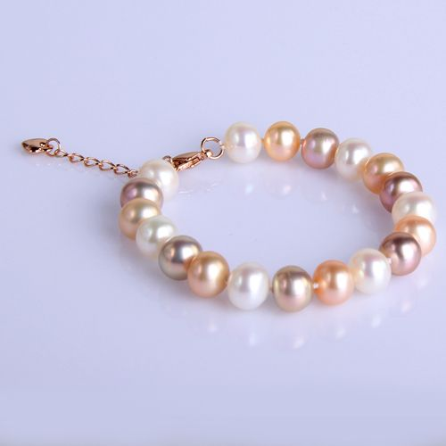 9-10mm Multi-Color Pearl Bracelet Rose Gold Heart Clasp - $58.99