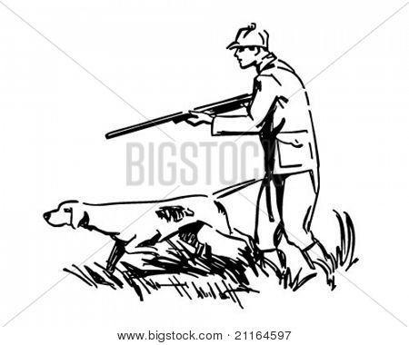 Cazador Con Perro Ilustracion Imagenes Predisenadas Retro Dibujos De Perros Grafitis Dibujos Paisaje Vector