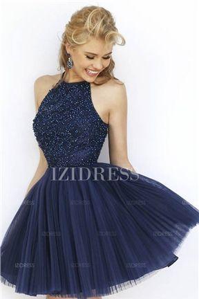 Duchesse Linie Juwel Ausschnitt Kurz Mini Tulle Abiballkleider