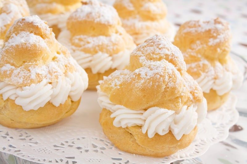 Cream Puff Recipe #1 ½ cup (one stick) butter 1 cup water 1 cup flour 4 eggs 2 small boxes instant vanilla pudding (3.4 oz each) 1⅓ cup cold whole