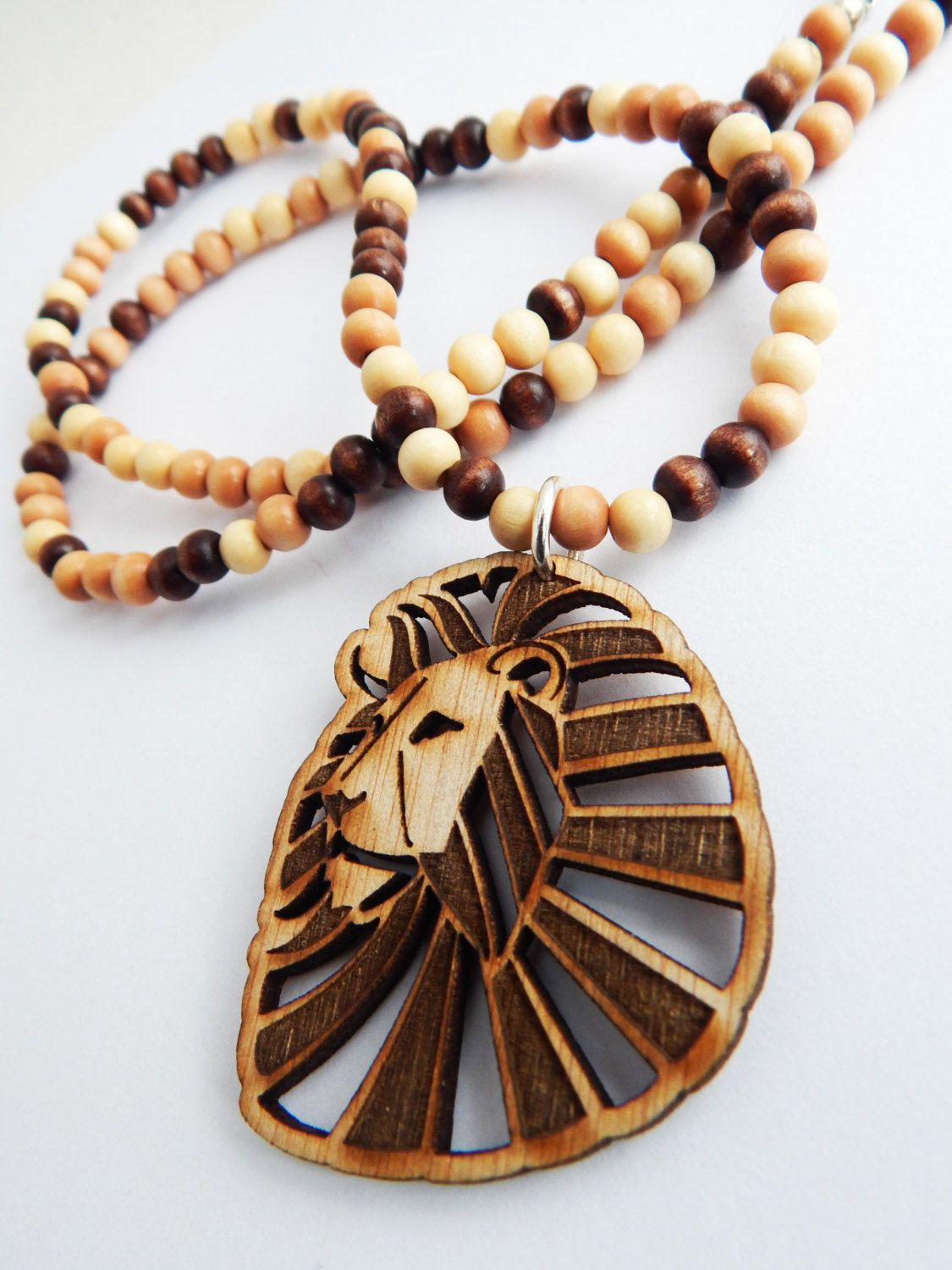 Lion necklace animal jewelry lion pendant mens necklaces wood beaded