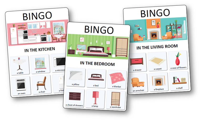 loto des objets et pi ces de la maison la maison anglais pinterest bingo bingo cards. Black Bedroom Furniture Sets. Home Design Ideas