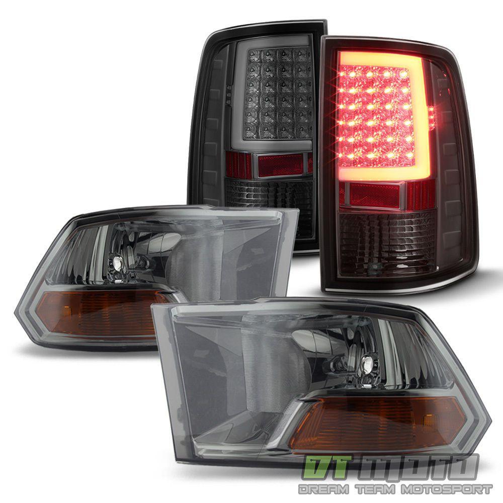 Smoke 2010-2017 Dodge Ram 1500 2500 3500 Headlights+LED Tail Lights