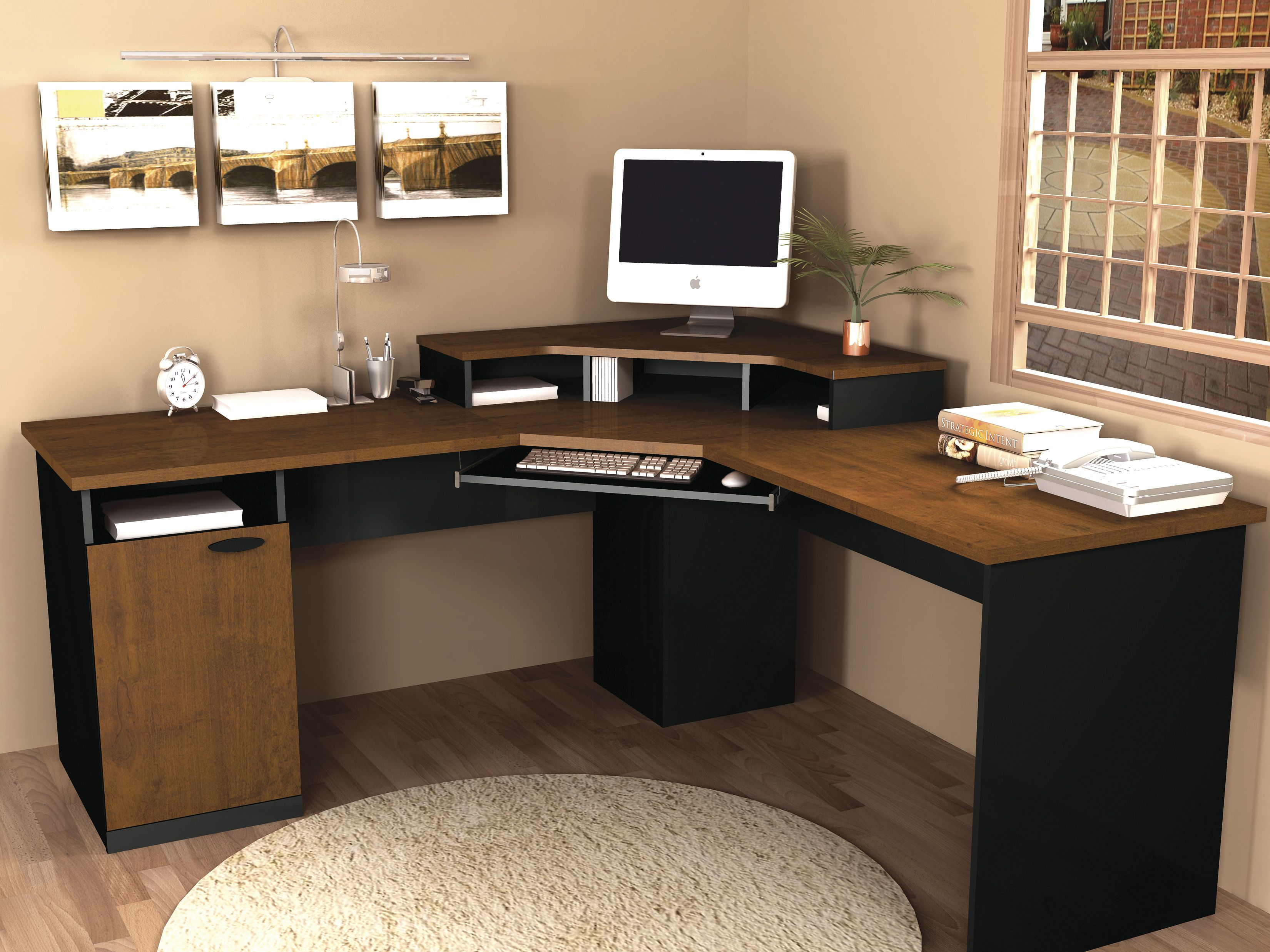 bestar hampton corner computer desk make the most of a small home office with the bestar hampton corner computer desktuscany brown u0026 black which tucks