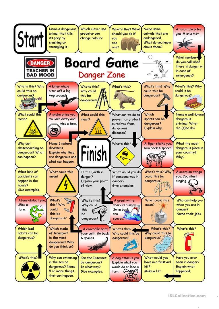 Board Game Danger Zone Worksheet Free Esl Printable Worksheets Made By Teachers Board Games English Games For Kids Esl Board Games