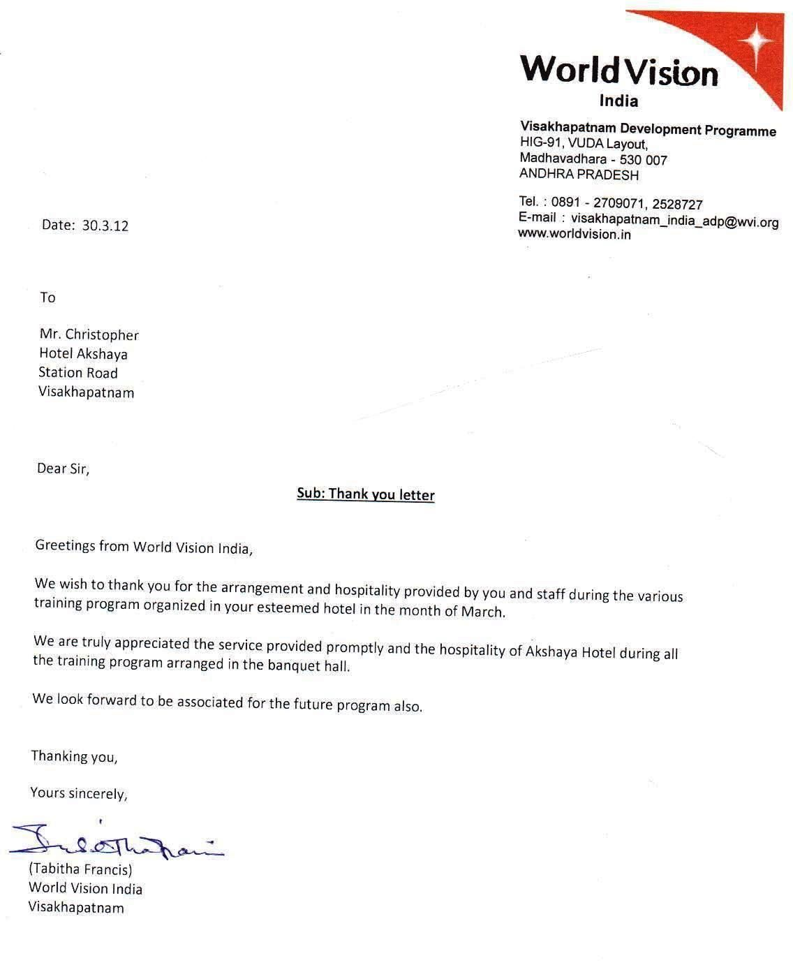 Letter Of Appreciation  Hotel Akshaya  Letter Of Appreciation