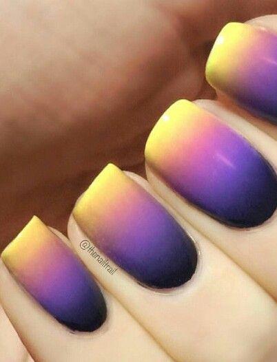 yellow purple ombre nails thenailtrail