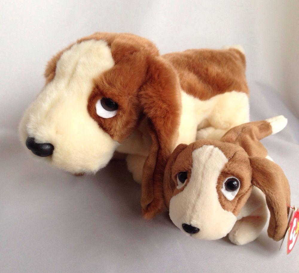 Ty Basset Hound Tracker Buddy and Baby Beanie All Tags Buddie Plush Stuffed  Dog  TyBeanieBuddieandBaby 36f652e2548
