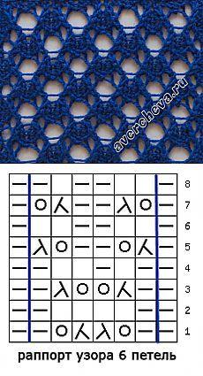 узор спицами 523 простой ажур с двойными накидами каталог вязаных