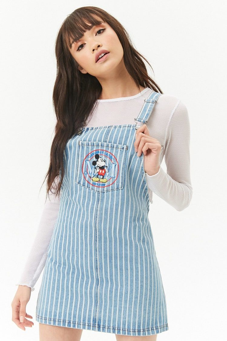 30a92f9a72 Product Name Striped Mickey Mouse Denim Overall Dress