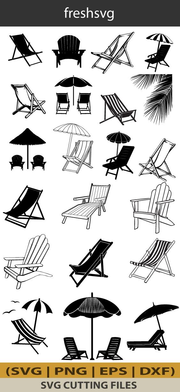 38+ Silhouette beach chair clipart info