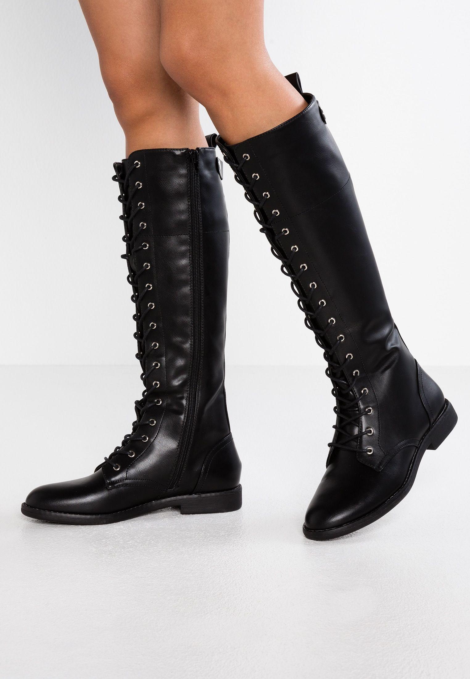 Anna Field Kozaki Sznurowane Black Zalando Pl Black Boots Block Heel Shoes Boots