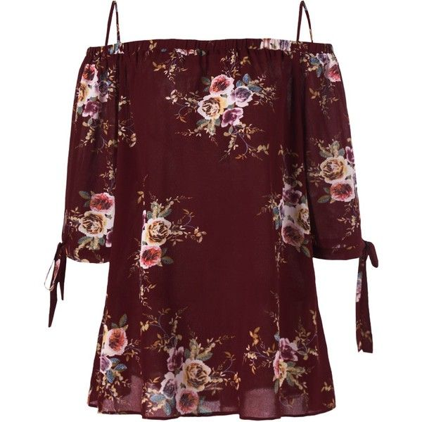 33c877d3c1343 Wine Red 5xl Plus Size Cold Shoulder Floral Blouse (£1.14) ❤ liked ...