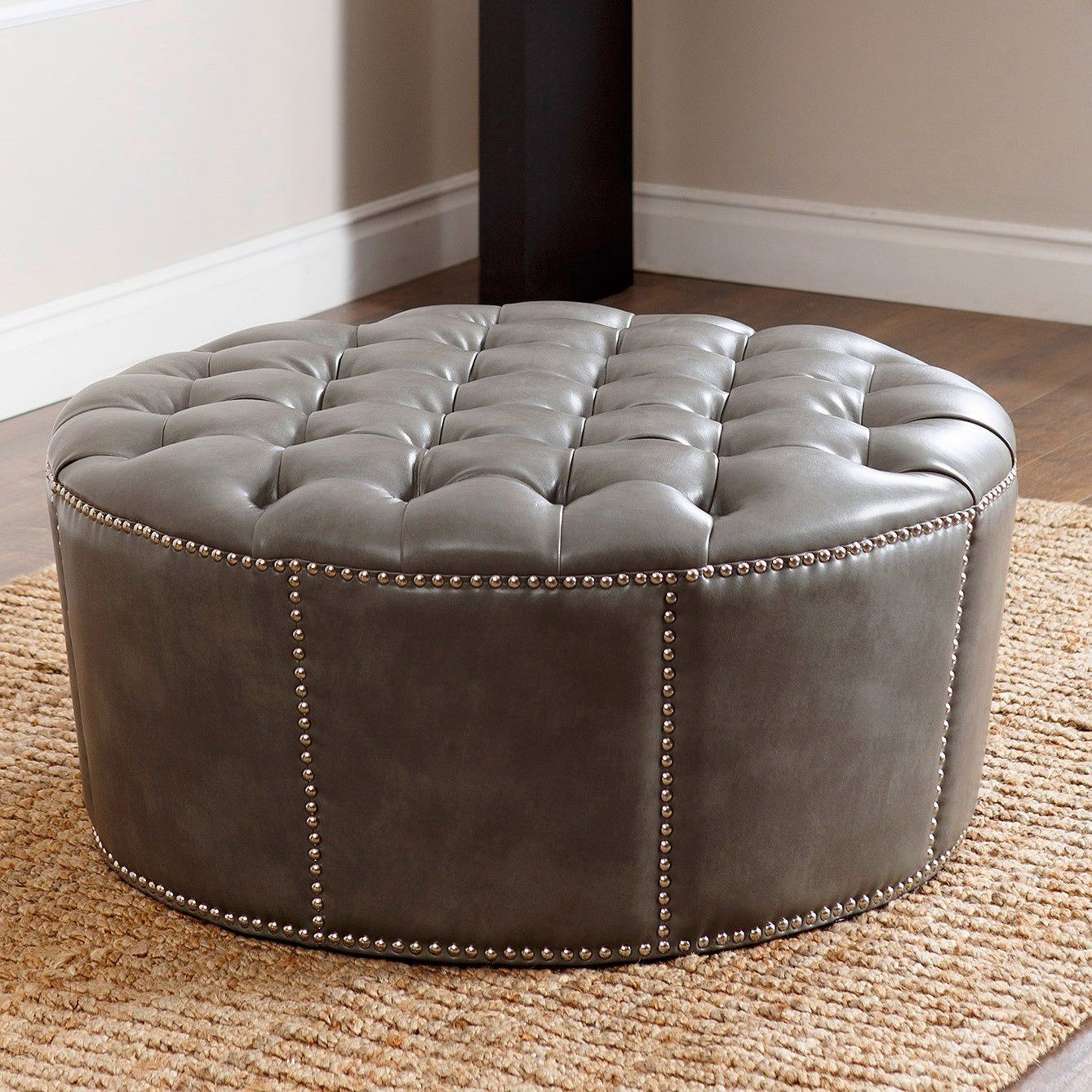 Abbyson Newport Green Grey Leather Nailhead Trim Round