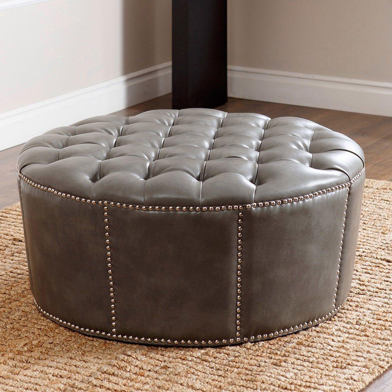 28 Ideas For Sitting Pretty At Your Head Table: Abbyson Newport Grey Leather Nailhead Trim Round Ottoman