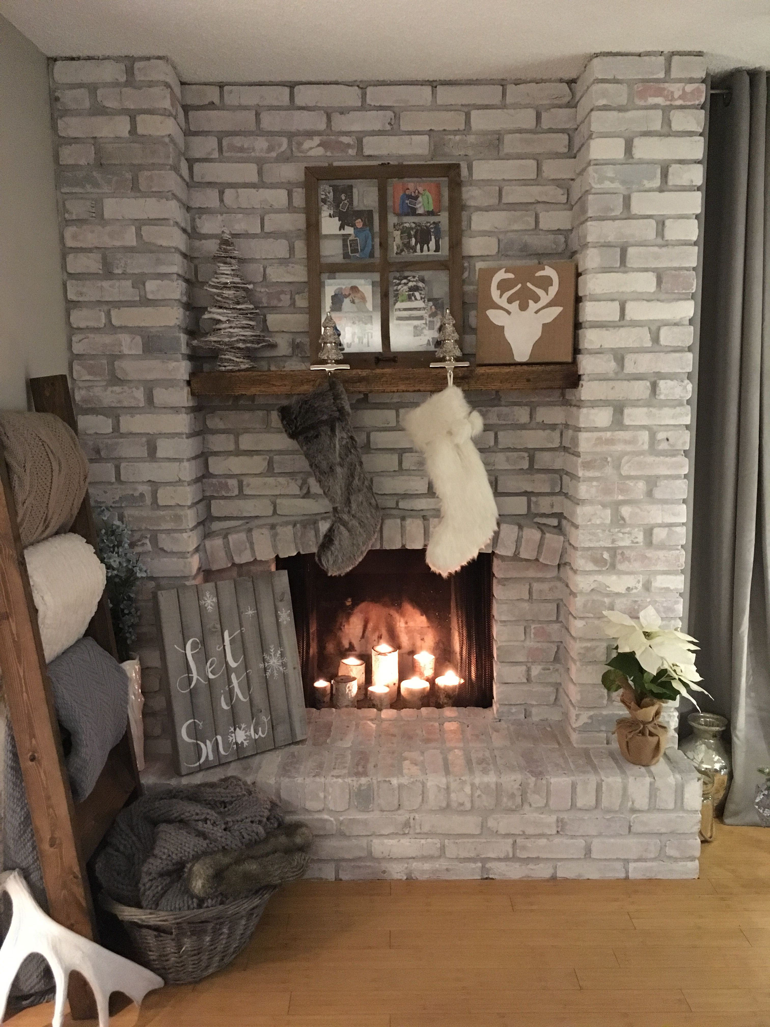 Cool Christmas White Washed Brick Fireplace I Installed A Diy Download Free Architecture Designs Grimeyleaguecom