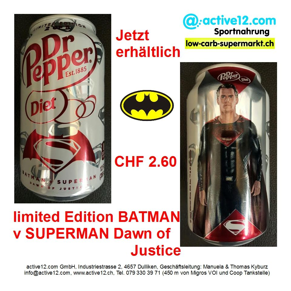 Dr Pepper Diet Usa Limited Edition Batman V Superman Dawn Of