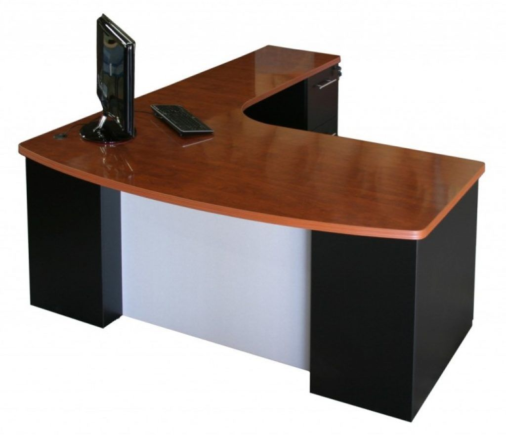 Awesome brown varnished mahogany top computer desk with black pedestal base with l shape table also office furniture l shaped desk
