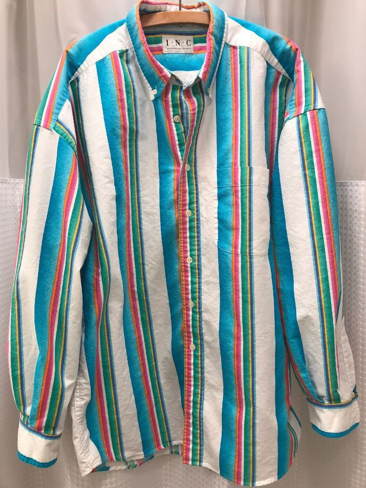 6afe283e3b Vintage INC Striped Mens Long Sleeve Shirt Size XXL Bright Neon 80s 90s  #adidas #PoloRugby