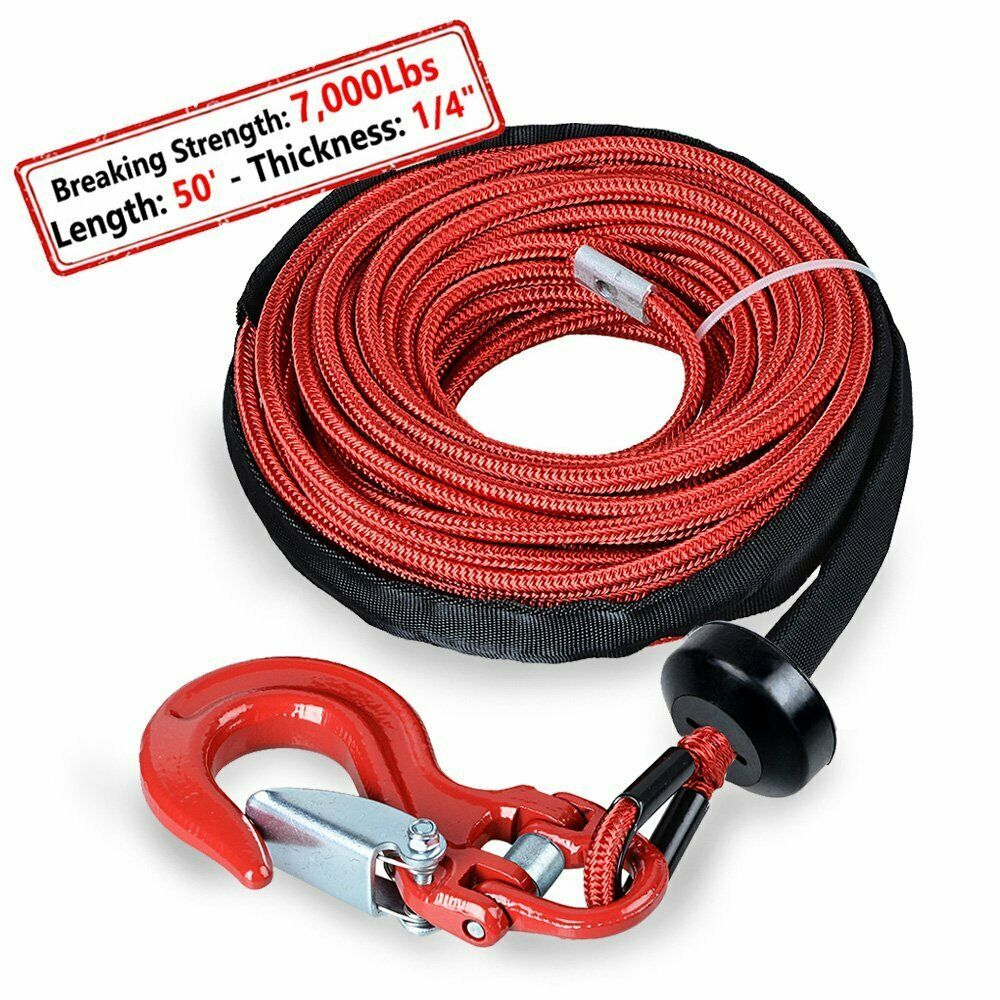 Green Synthetic Winch Rope Line Cable 1//4/'/'x50/' 7000 LBs With Rock Guard For ATV