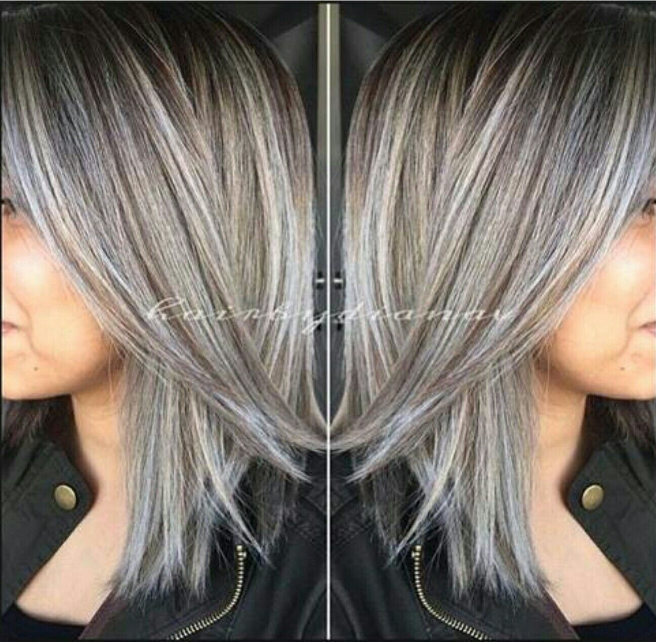 Ash Brown And Titanium Gray Hair Highlights Blending Gray Hair Grey Hair Color