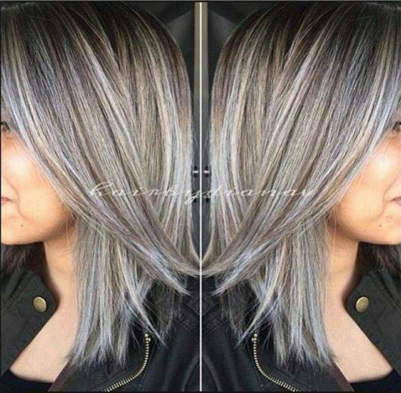 Ash Brown And Titanium Gray Hair Highlights Blending Gray Hair Grey Hair Color