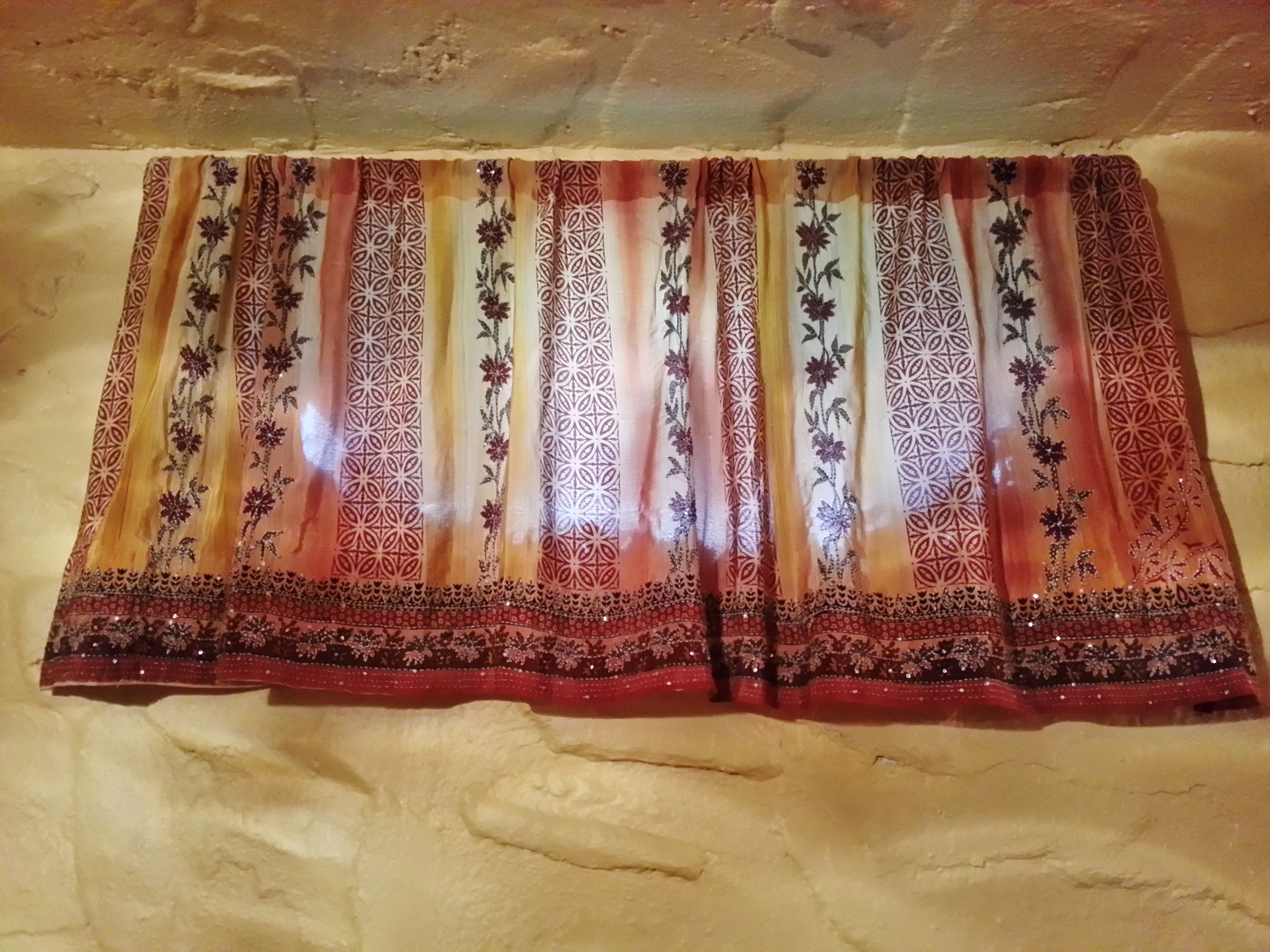 Basement curtains from a $19 Indian sari