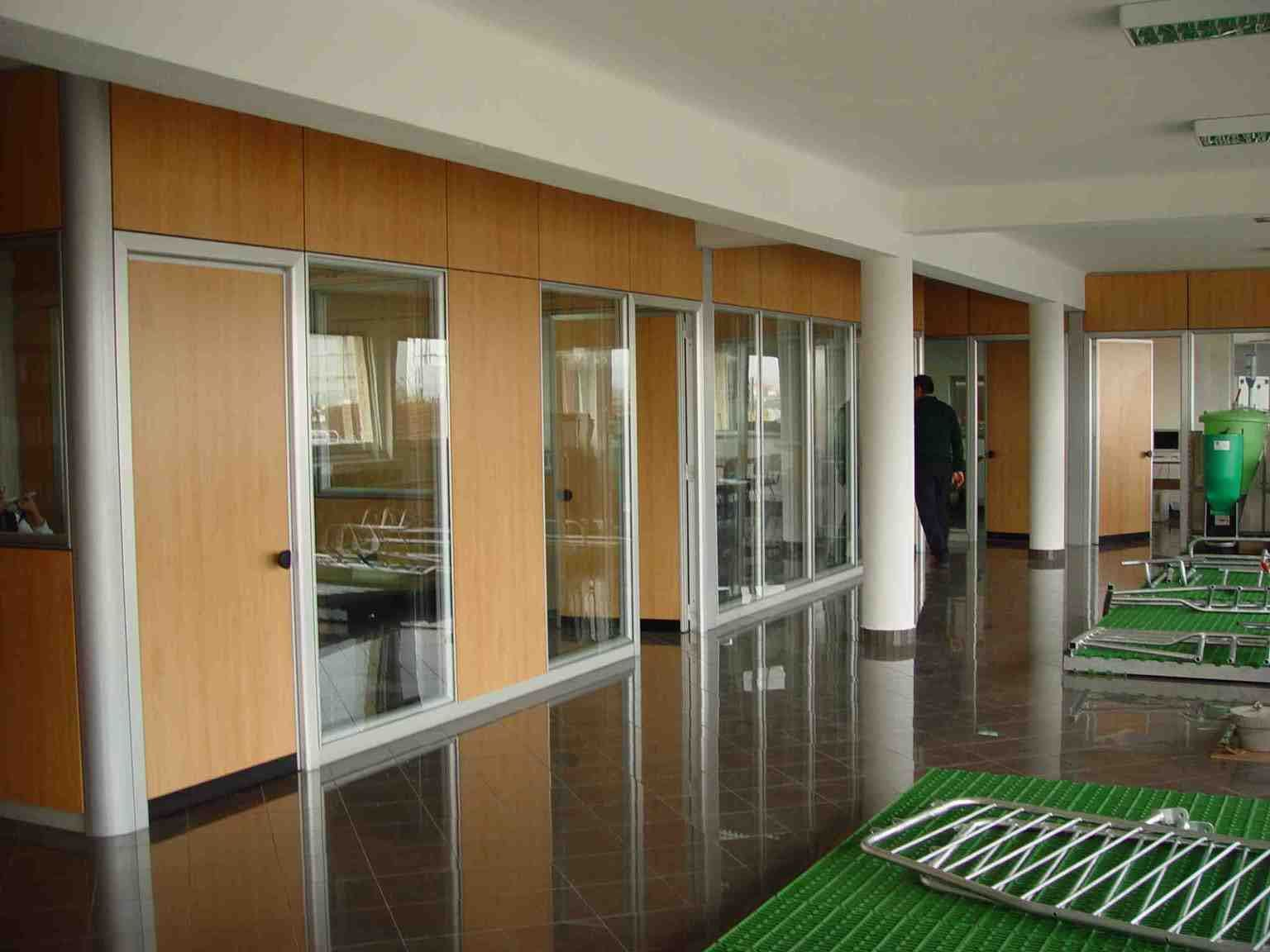 Wood Partition Walls Office Divider Walls Transparent Glass And Solid Wood Office Room