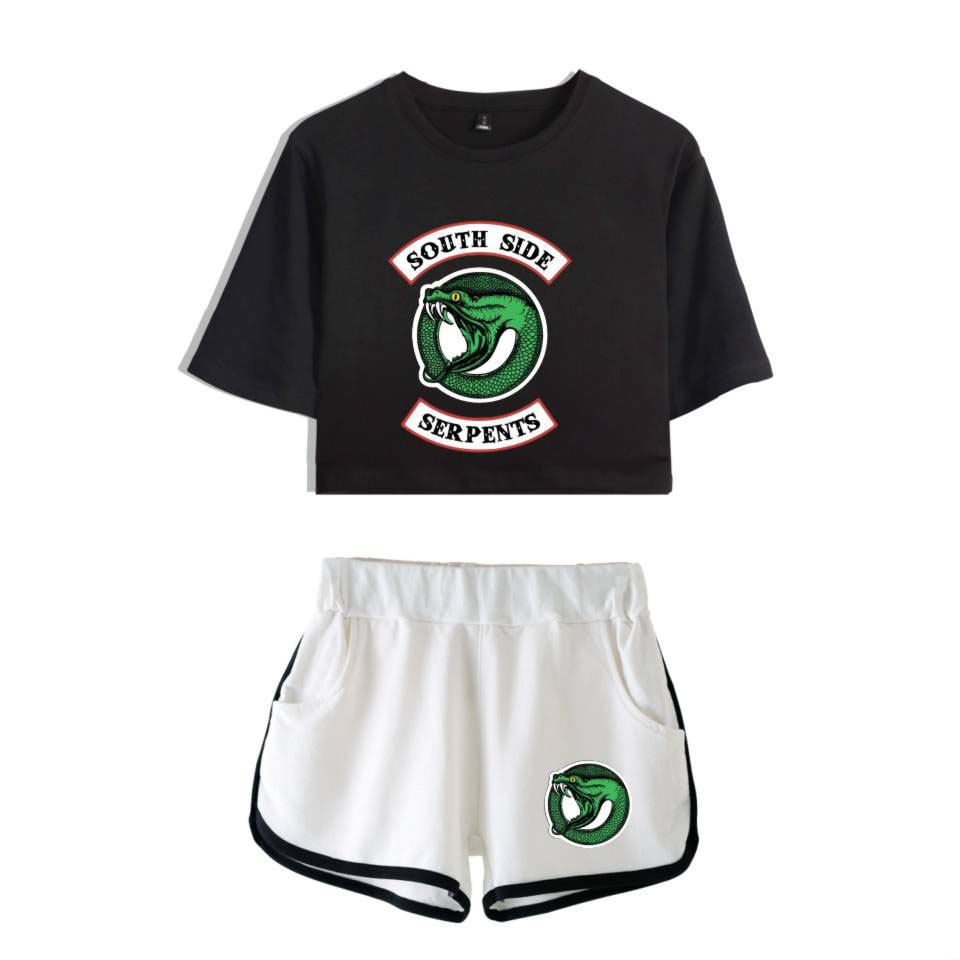 b5833326a Riverdale Southside Serpents Tracksuit Clothes Female Crop Top and Pants