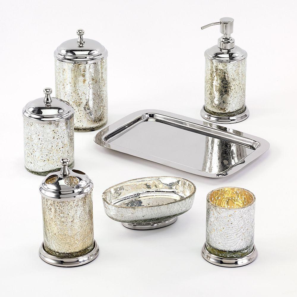 Avanti Mercury Crackle Glass Bathroom Accessories Collection ...
