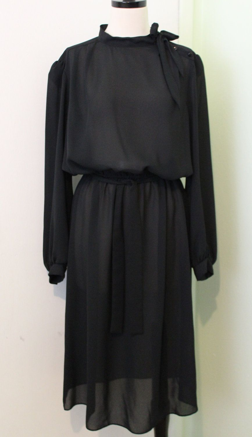 Black+Sheer+Dress+with+Bow+Tie+by+MyKindsYourKind+on+Etsy,+$32.00