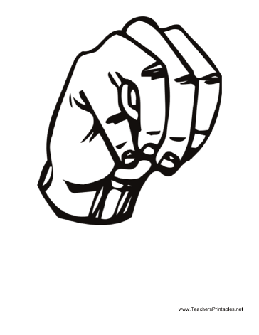 Diagram of a hand signing the letter M. Free to download