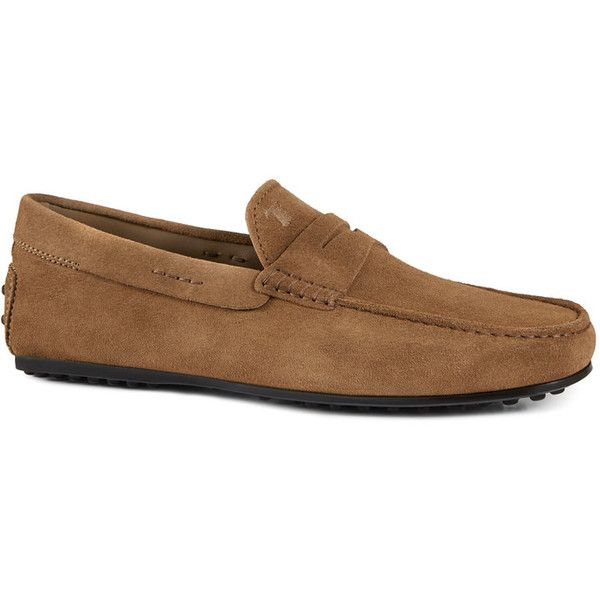 Tods  City Gommino Suede Loafers 495  liked on Polyvore featuring  mens fashion