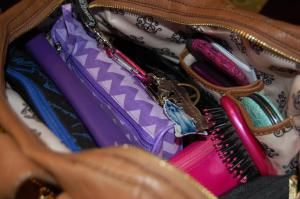 purse completed  How to organize your purse/briefcase for work!