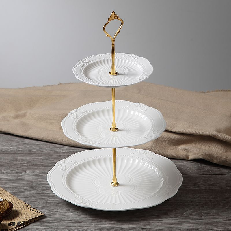 3 tiers vintage glass white ceramic cupcake stand gold
