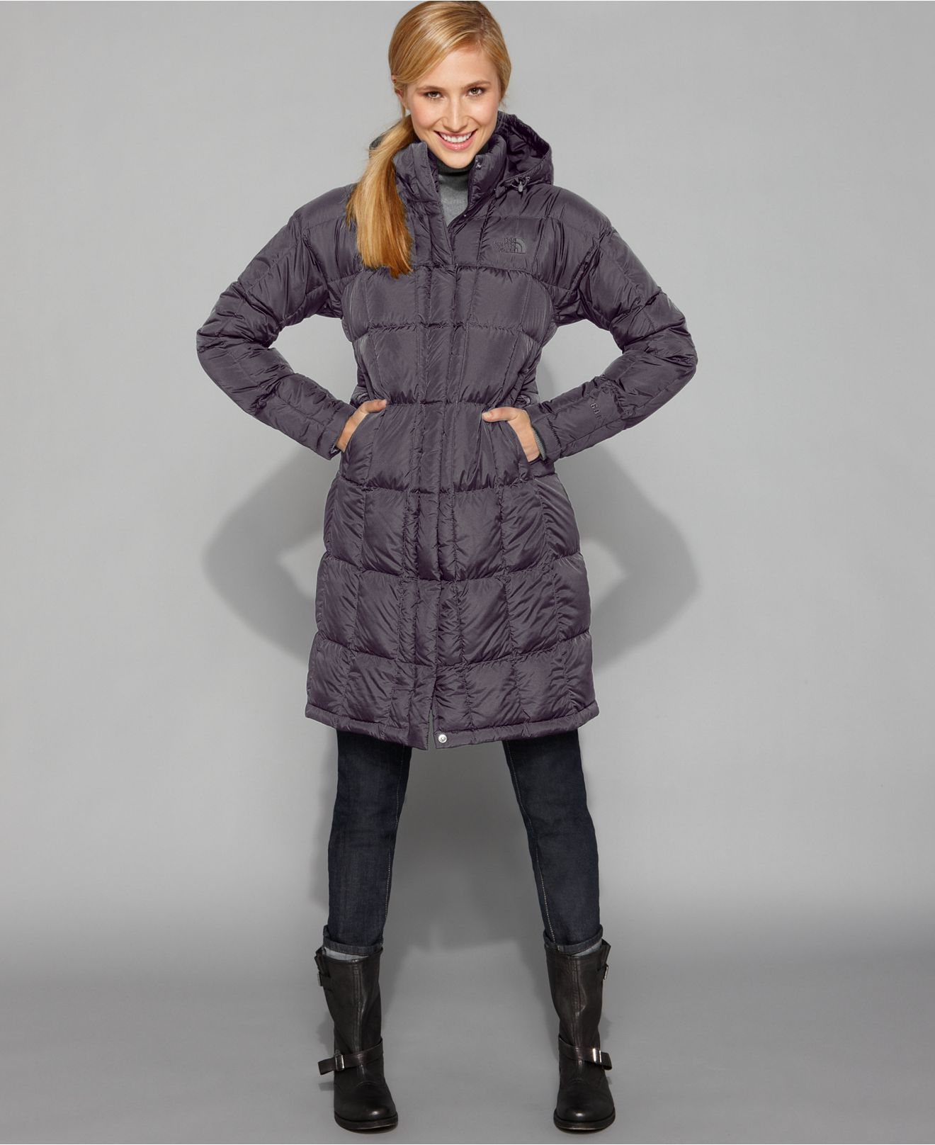 The North Face Coat Metropolis Puffer Hooded Parka In Graphite Grey