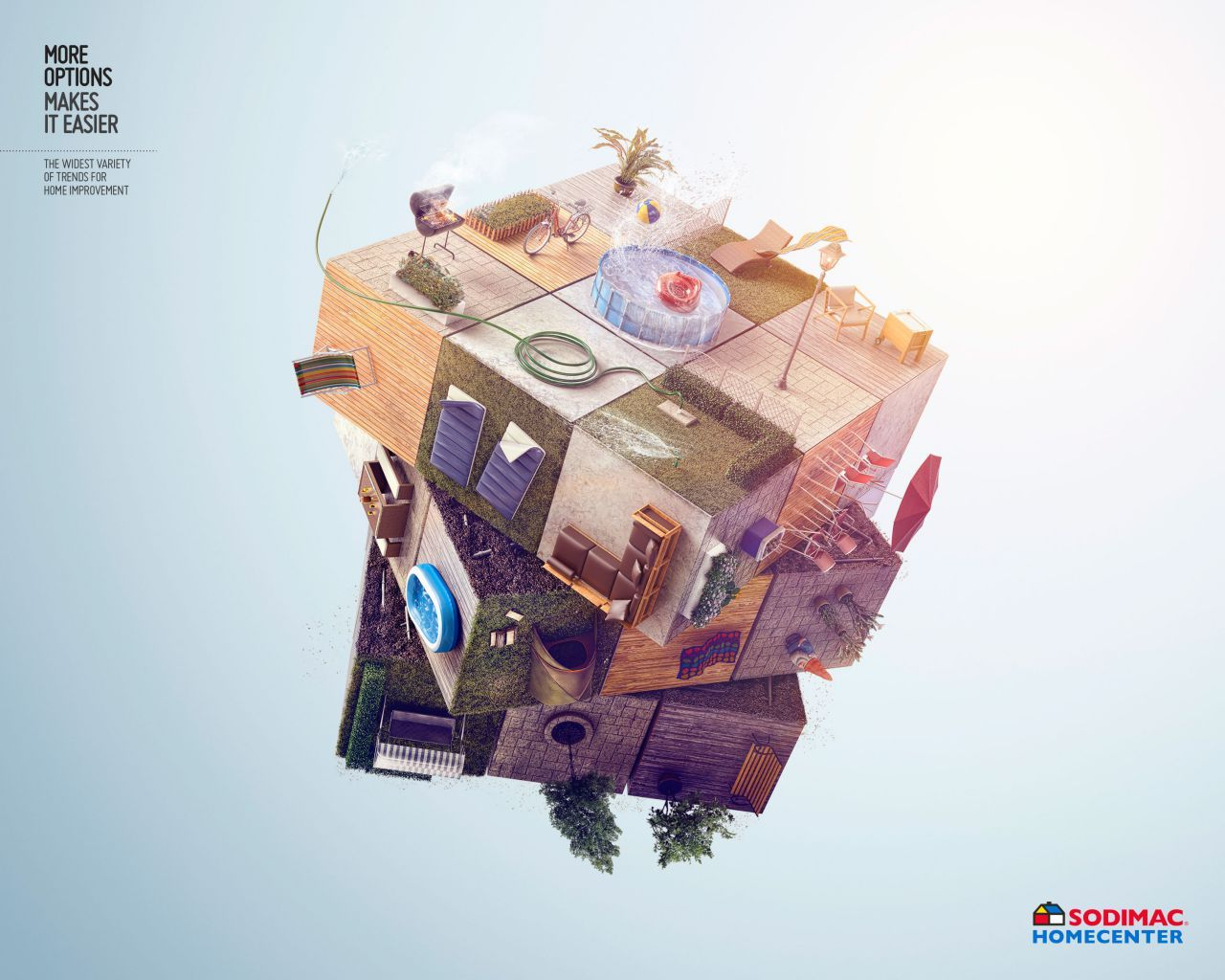 Creative use of Rubix Cube for this advertisement for home decoration