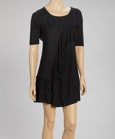 Take a look at this Black Fringe Short-Sleeve Tunic by Fashion by Wholesale on #zulily today!