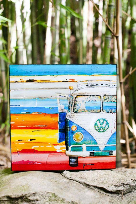 Playing Hooky Vw Van Vw Fine Art Block All By Dannyphillipsart 12 00 Art Blocks Wall Decor Mini Canvas Art Art Block
